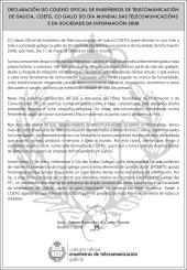 Manifiesto do COETG co gallo do día Mundial das Telecomunicaciónes e da Sociedade da Información 2008